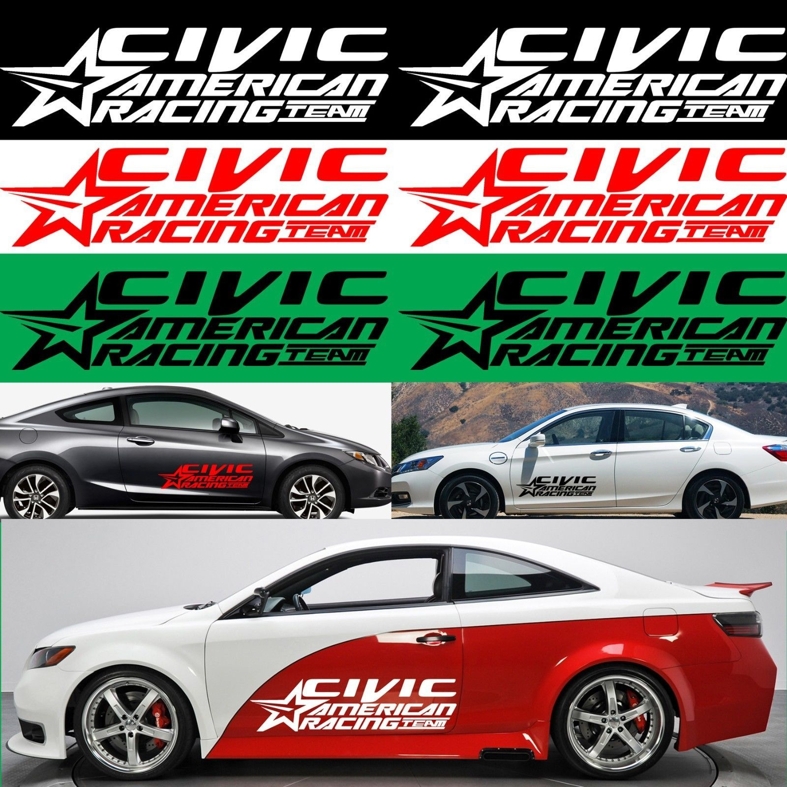 Racing team american racing car decals honda civic honda civic si