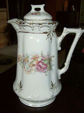 Vintage chocolate pot gold trim flower design