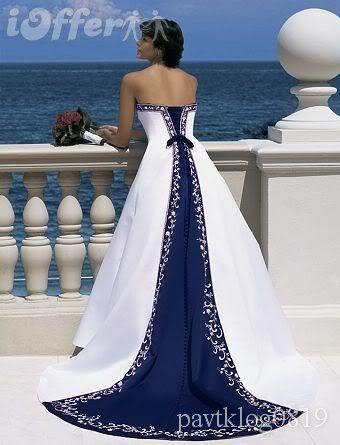 White And Navy Blue Wedding Dress