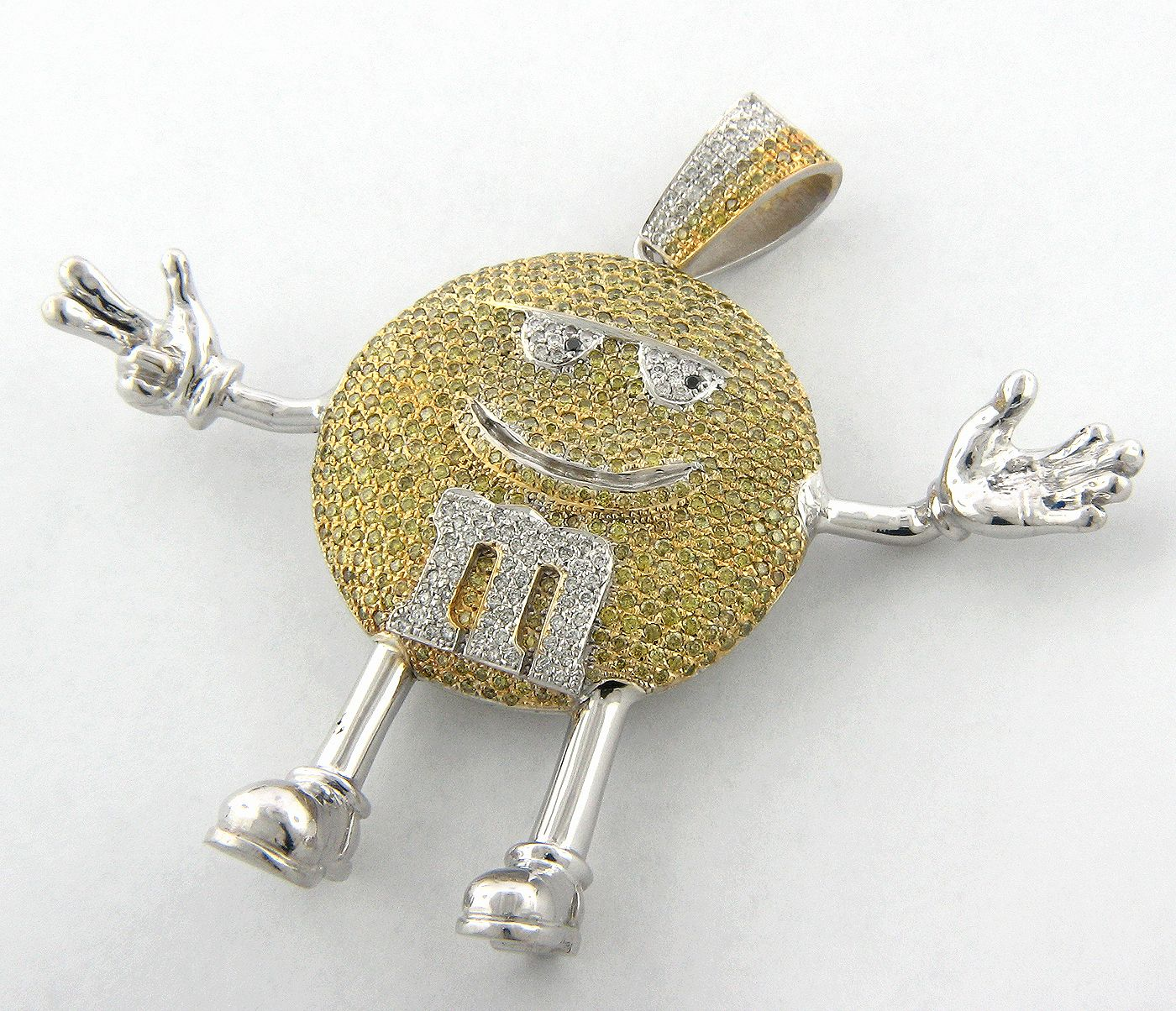 custom made M M pendant white and yellow diamonds TEAM YELLOW