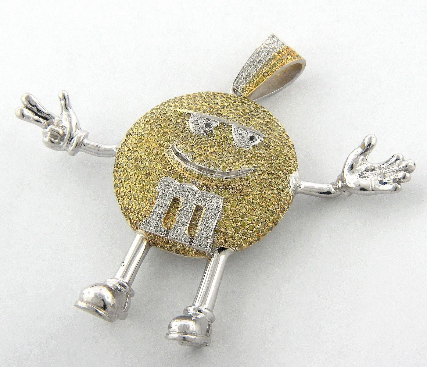 Custom made m m pendant white and yellow diamonds team yellow custom made jewelry design your jewelry online itshot nyc designers aloadofball Gallery