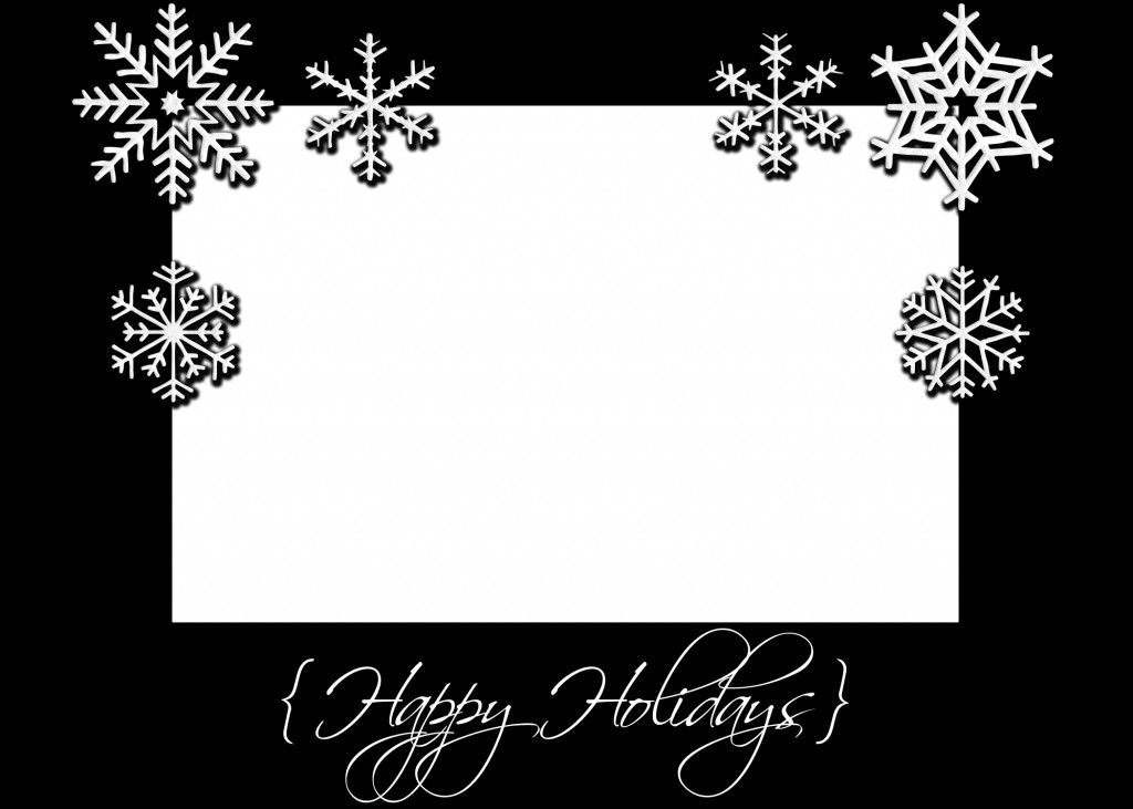 Black And White Snowflakes Christmas Card Templates Free Christmas Card Template Card Templates Free
