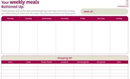 Weekly menu planning printable