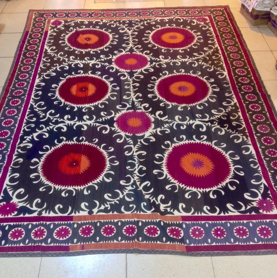 Captivating Uzbek Samarkand Suzani Handmade Bedcover ,table Cover, Hanging Wall  Decorative Home, Vintage Suzani