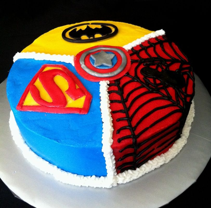 Super Hero Cake Do With Captain America Groon Lantern And