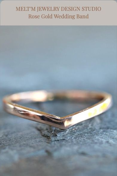 14k solid gold V wedding band. It's perfect for stacking with 2 or 3 ring together also you can wear alone.   ***The band is 1.75mm thickness. ***This ring can be made also yellow gold and white gold.  Handmade in California, uniquely for you! #ChevronBand #WeddingBand #RoseGoldRing #NestingBand #ContourRing