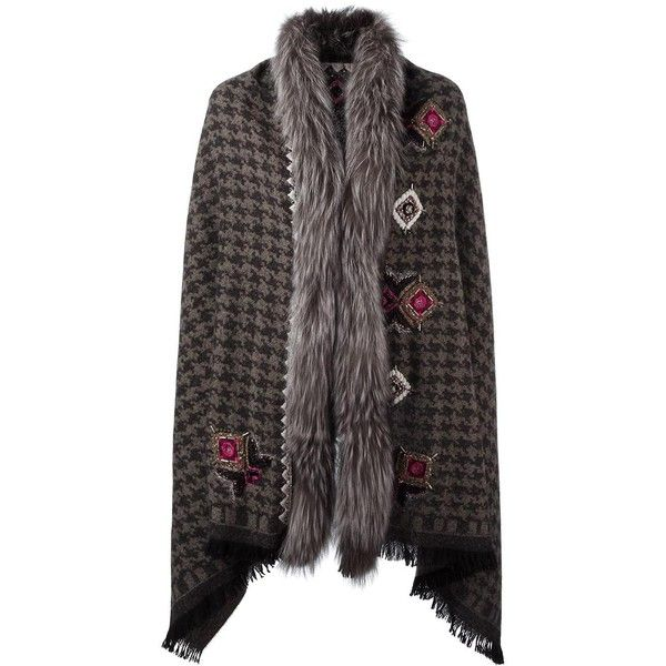 Bazar Deluxe checked poncho (£793) ❤ liked on Polyvore featuring outerwear, black and pattern poncho