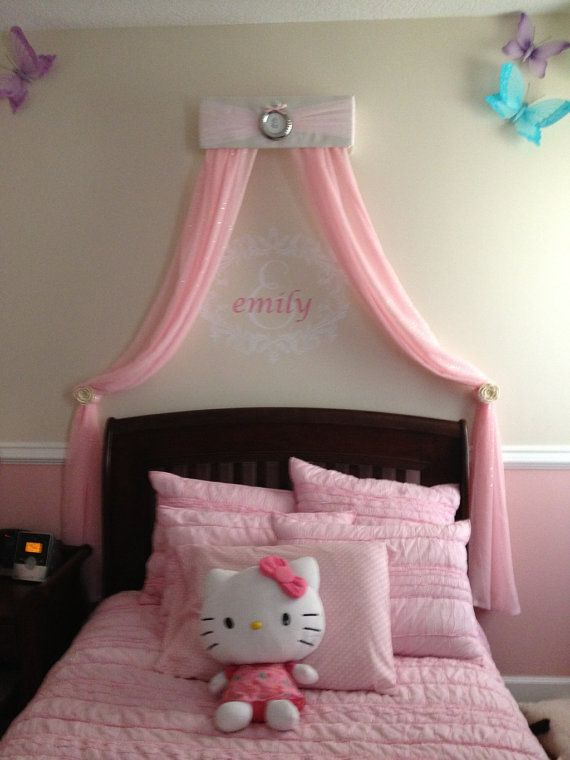 Bed Crown Princess CRIB Canopy Personalized FREE White with Pink Tulle Upholstered  sc 1 st  Pinterest & Bed Crown Princess CRIB Canopy Personalized FREE White with Pink ...