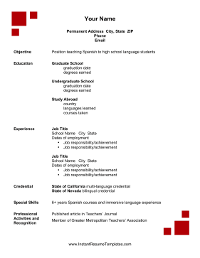 Academic Resume Template Red Squares Decorate This Printable Resume That Include Time Spent