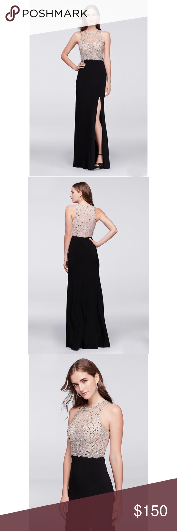 Davidus bridal black and nude sparkly prom dress sparkly prom