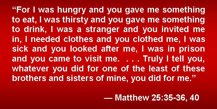 Kuvahaun tulos haulle Matthew 25:35-36