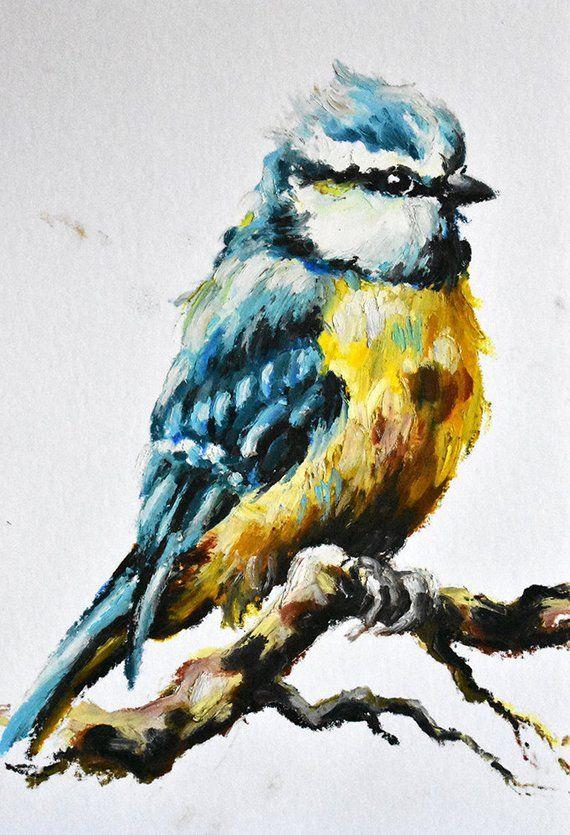 5f115b65283d Blue Tit Bird Painting, Colorful Original Impressionist Oil Pastel Painting  7x9 Inch
