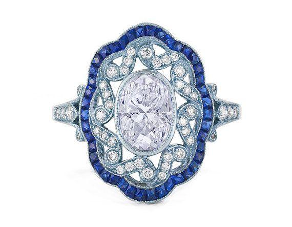 2.90ct Oval Diamond Art Deco Ring