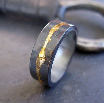 Man Wedding Band Rustic Oxidized Ring Black Gold Unique