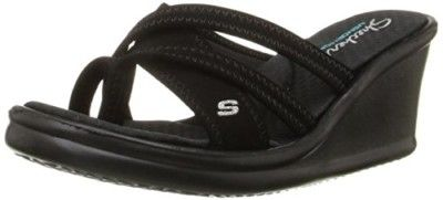 Skechers Cali Women's Rumblers-Young At Heart Wedge Sandal, Black, 7 M US | #external #SketchersSportsWear