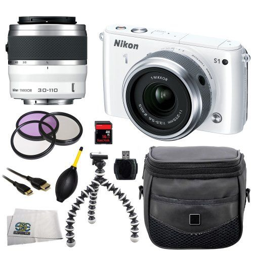 47% Off was $699.95, now is $369.00! Nikon 1 S1 10.1 MP HD Digital Camera System with 11-27.5mm VR and 30-110mm VR 1 NIKKOR Lenses (White) + 3 Piece...