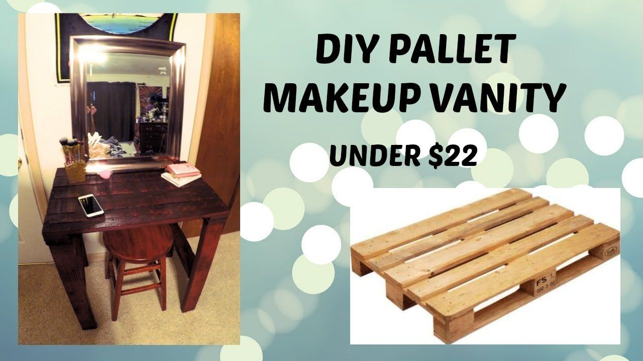 Vanity with lighted makeup mirror made from reclaimed
