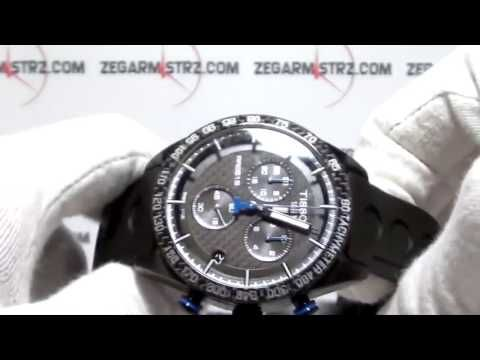 35e89999f1e Tissot PRS516 42mm Black Carbon Blue Dial Men's Chronograph Watch ...