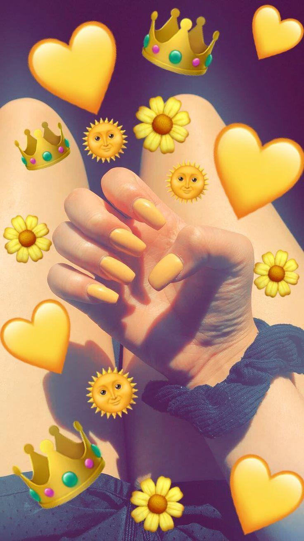 Snapchat Yellow Nail Art Cute Emoji Wallpaper Emoji Pictures