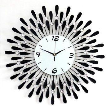Amazon Com 20 Modern Crystal Metal Wall Clock Home Kitchen