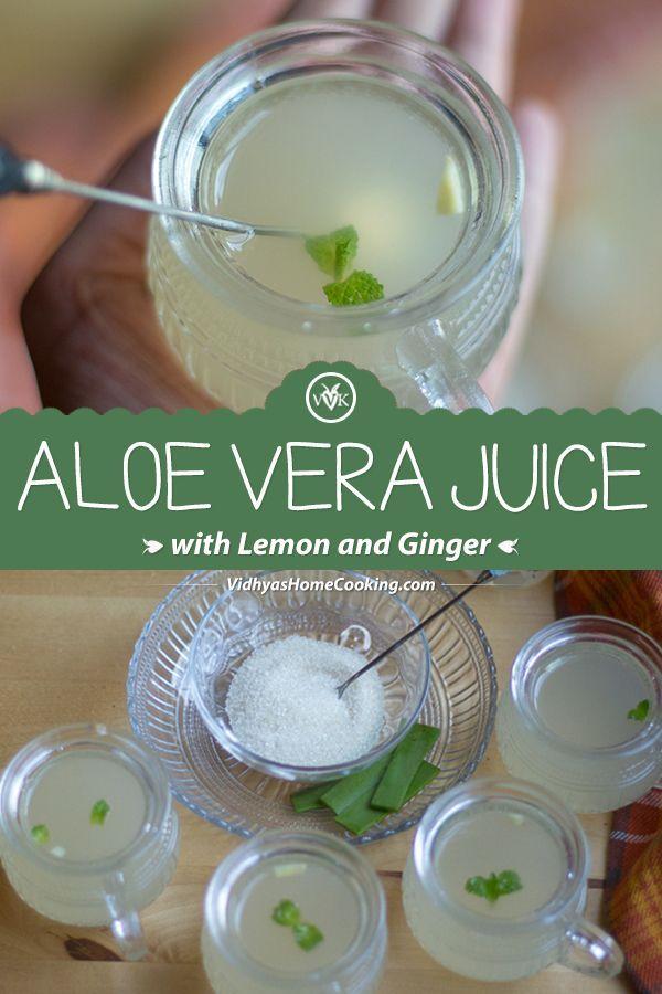 Homemade Fresh Aloe Vera Juice Recipe With The Hint Of Lemon And Ginger Aloejuice Detoxdrinks Aloe Vera Juice Recipes Aloe Vera Drink Aloe Vera Juice Drink