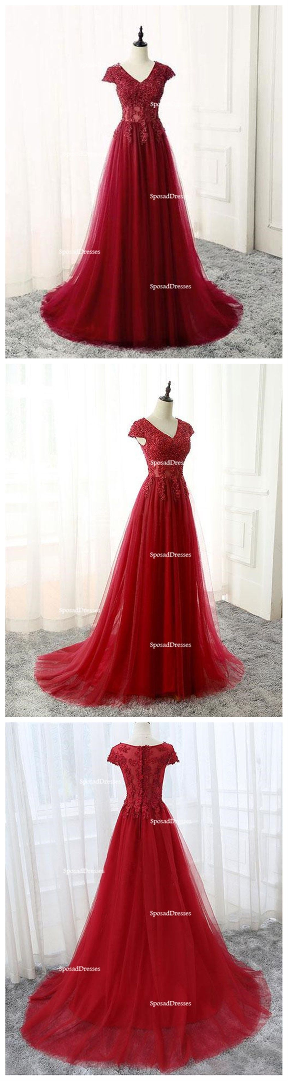 Red lace cap sleeve v neckline sexy see through long evening prom