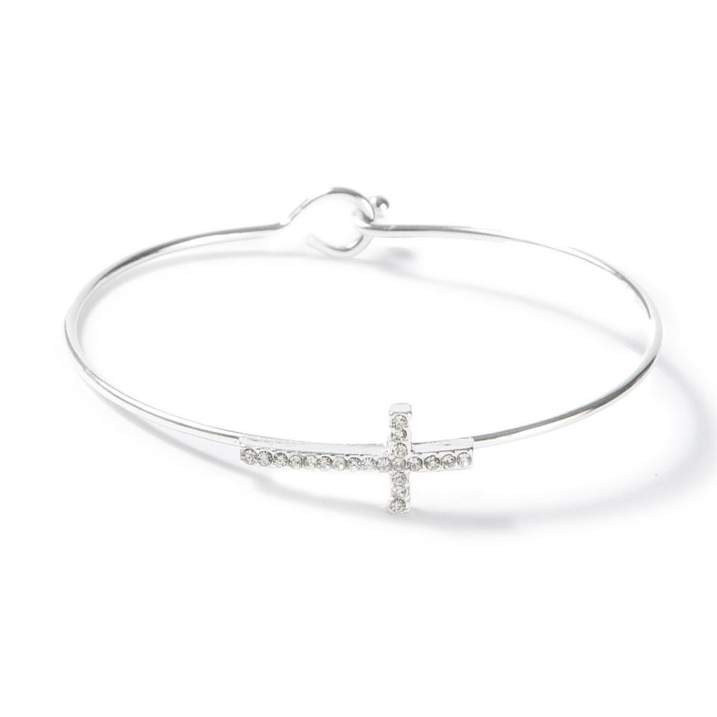 Crystal Bow and Ribbon Hook and Eye Bangle Bracelet | Icing. LOVE these side crosses