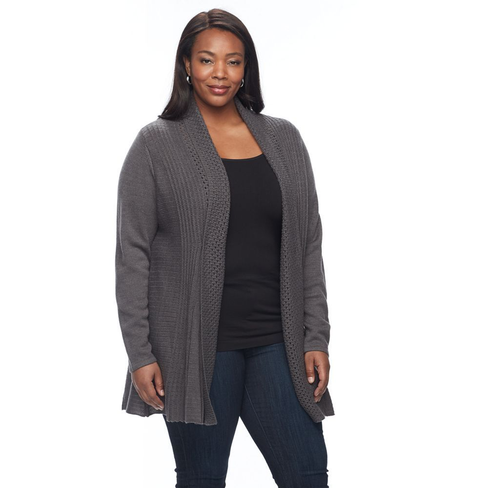 Plus Size Napa Valley Textured Open-Front Cardigan, Women's, Size ...