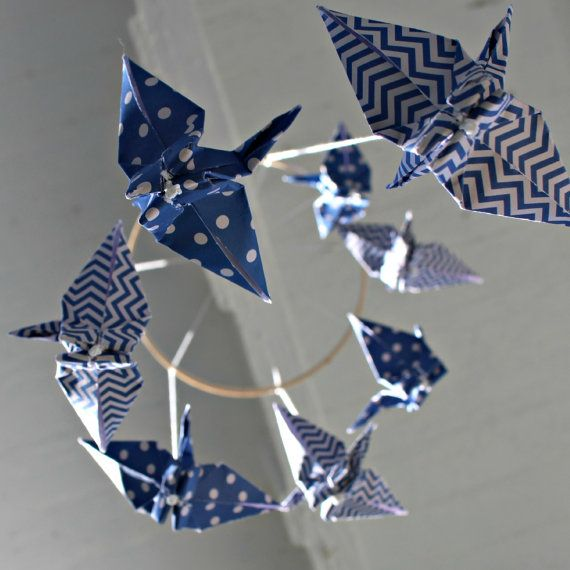 Blue and White Polka Dots and Chevron  by HereComesBrotherSun