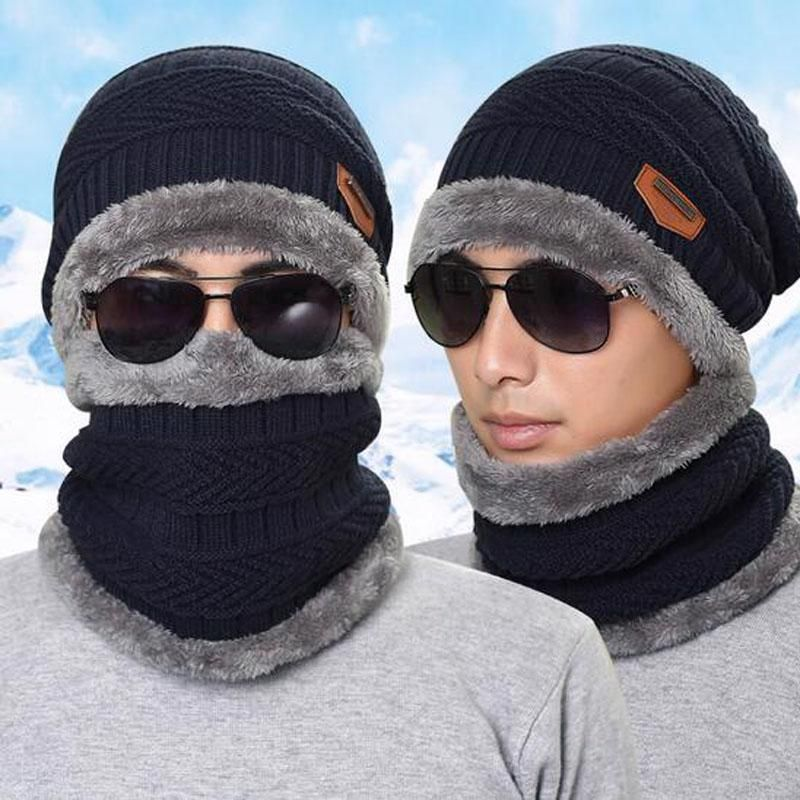 ea8edf9fb Men Warm Hats Scarf Winter Knitted Cap Lady Beanie Hat Women ...