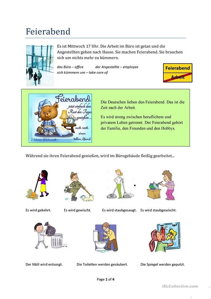 Feierabend - Einführung Passiv Präsens | C1/2 | Pinterest