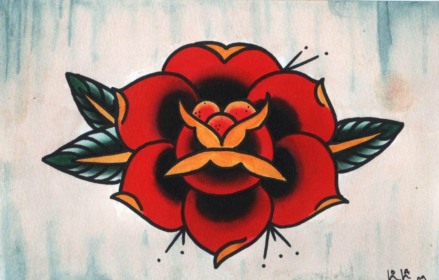Traditional Rose Tattoo Outlines - Viewing Gallery | I ... American Traditional Yellow Rose Tattoo