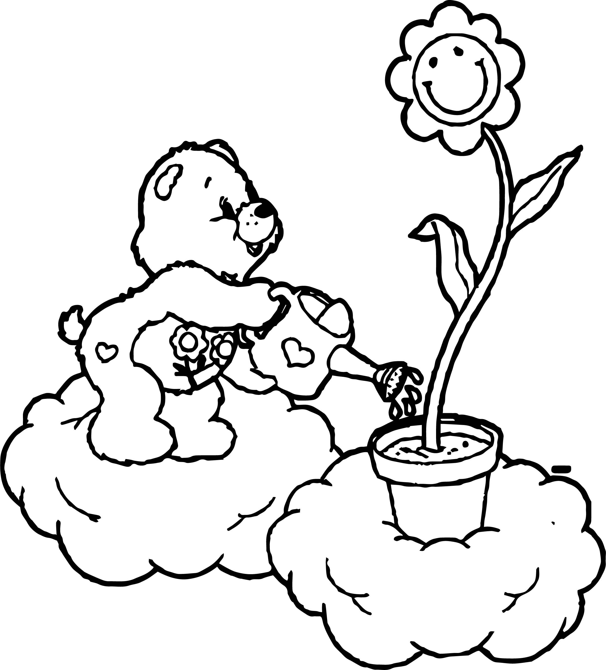 Awesome Care Bears To Water The Flowers Coloring Page Flower Coloring Pages Coloring Pages Flowers