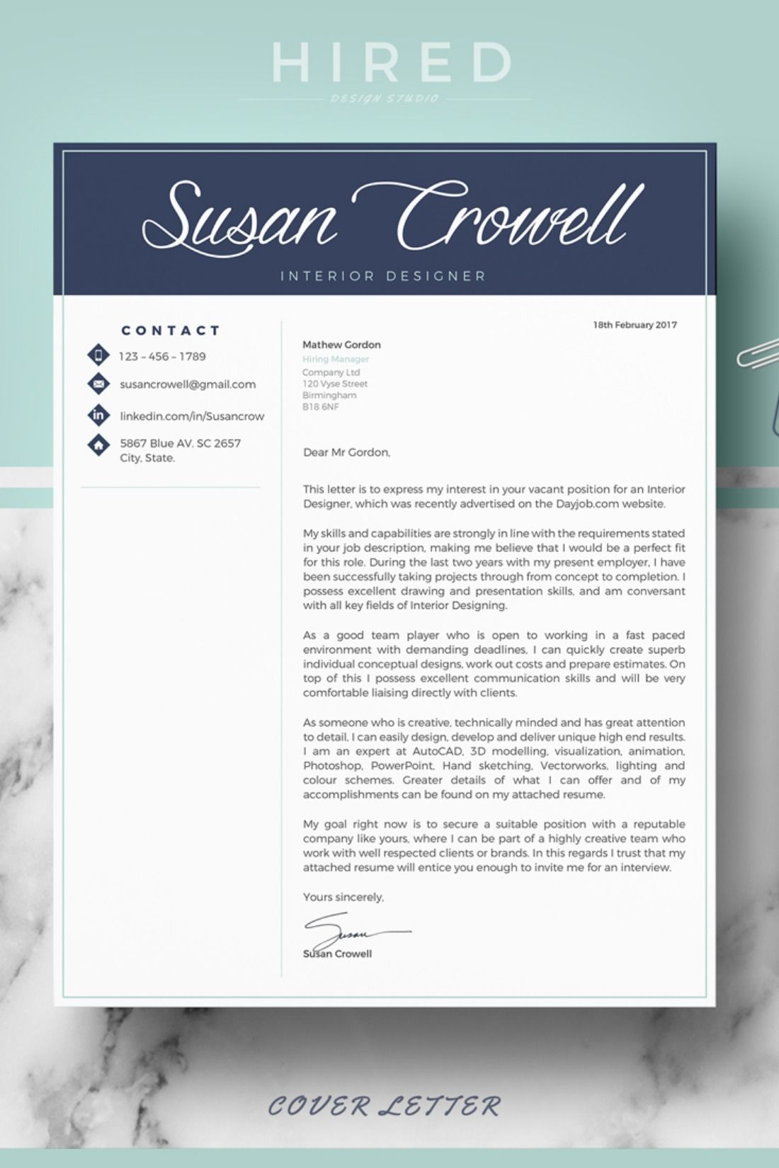 R36 - SUSAN CROWELL - Creative & Modern Resume Template for ...