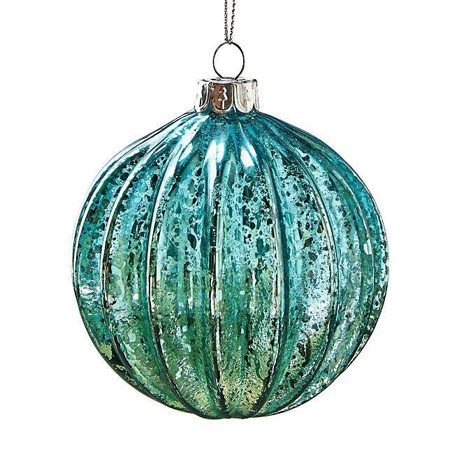 nature essentielle boule de no l en verre stri et teint green pinterest boules de no l. Black Bedroom Furniture Sets. Home Design Ideas