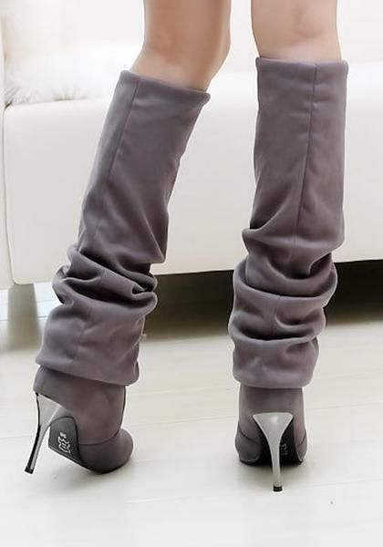 fd92ec8d56e New Women Grey Point Toe Stiletto Casual Over-The-Knee Boots ...