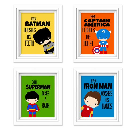 superhero bathroom sets. Superhero Bathroom Prints  Kids Decor Comic Book Print Super Hero Set of 4 These fun and attractive signs are a