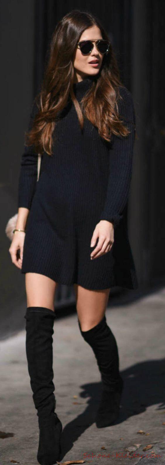 3 Strickkleid Schwarz, 3 Schöne Winterkleider für Damen