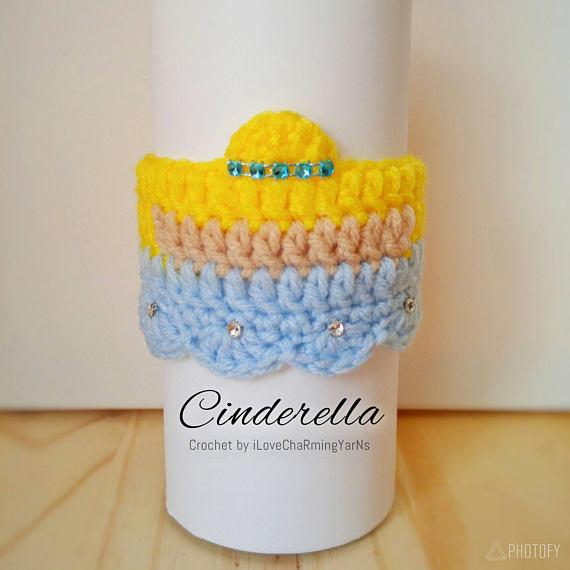 Cinderella coffee cup cozy, cup cozy, crochet cup cozy disney cup cozy, tumbler cozy, coffee cozy, mug cozy,cup cozy, cup wrap,mug wrap cozy #disneycups
