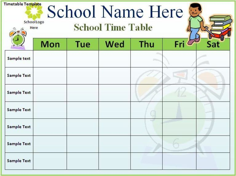 Time Table Template Word Excel Pdf Free Timetable Template