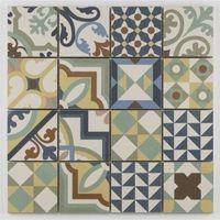 Mosaique Style Imitation De Ciment Taile 8x8 Cm Sur Trame 30x30 Carrelage M Vinyle Carreaux De Ciment Carreaux De Ciment Noir Et Blanc Design De Salle De Bain
