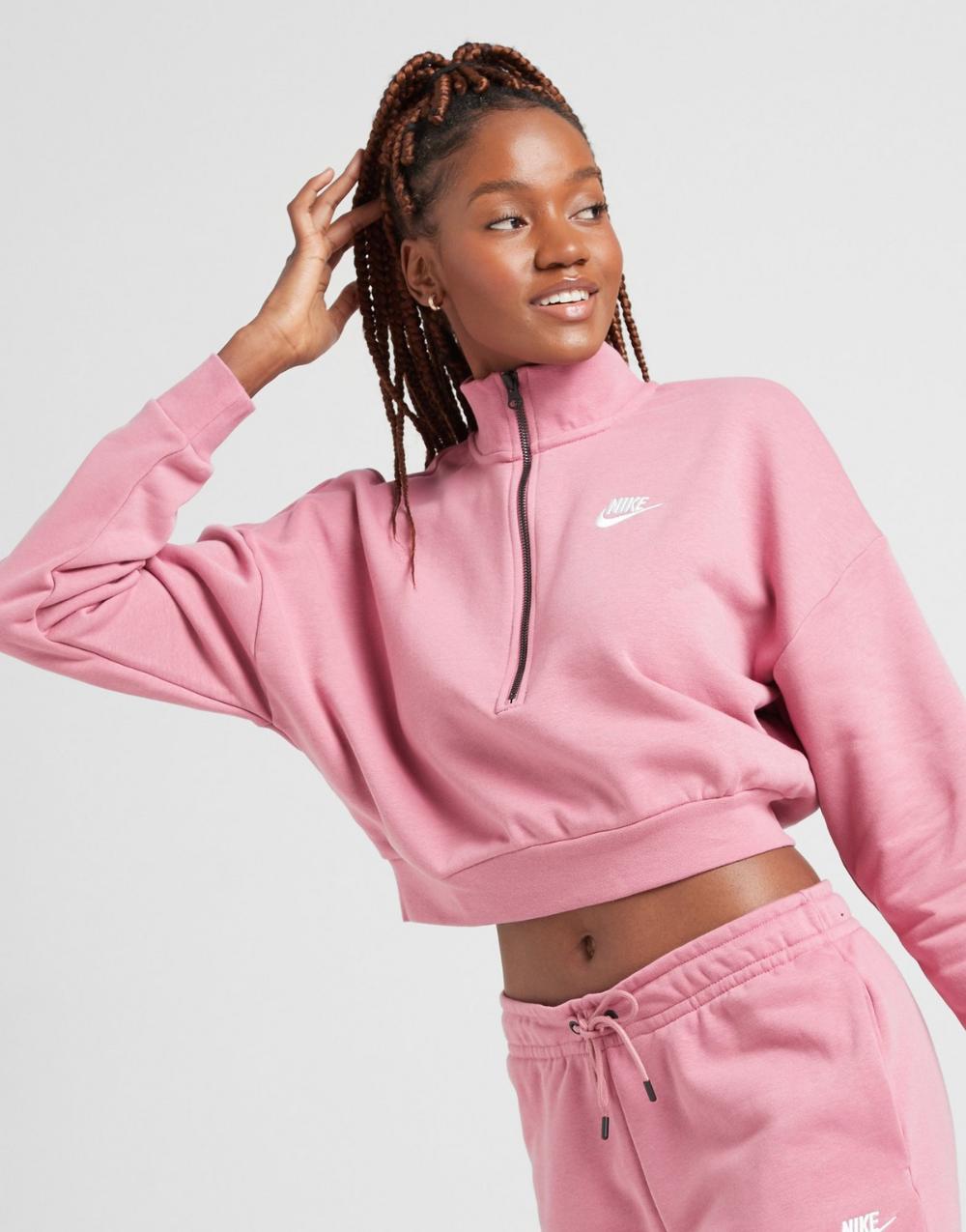 Nike Essential Crop 1 4 Zip Sweatshirt Retail Fashion Fashion Women Essentials [ 1275 x 1000 Pixel ]