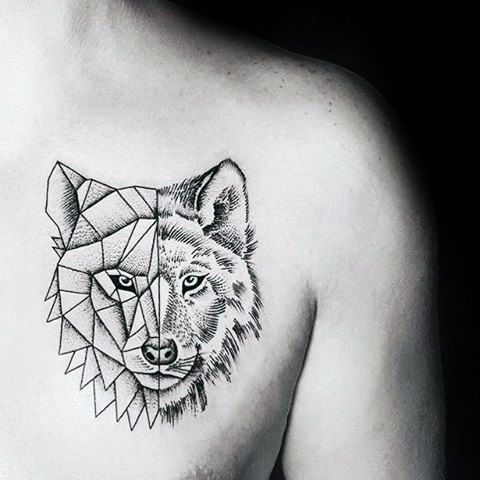 Wolf With Half Geometric Design Minimalist Guys Chest Tattoos Geometric Tattoo Geometric Animal Tattoo Wolf Tattoo Design