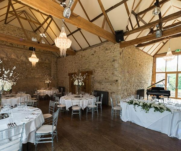 Set Up For A Wedding Reception At Notley Abbey Wedding Venue In