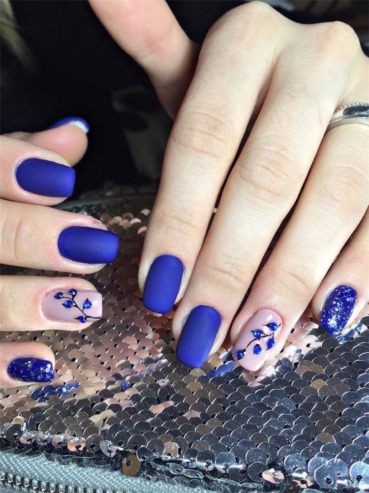 50+ Trendy Dark Blue Nail Art Designs for 2019