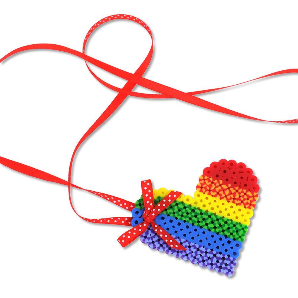 Rainbow Heart Necklace | Perler Beads