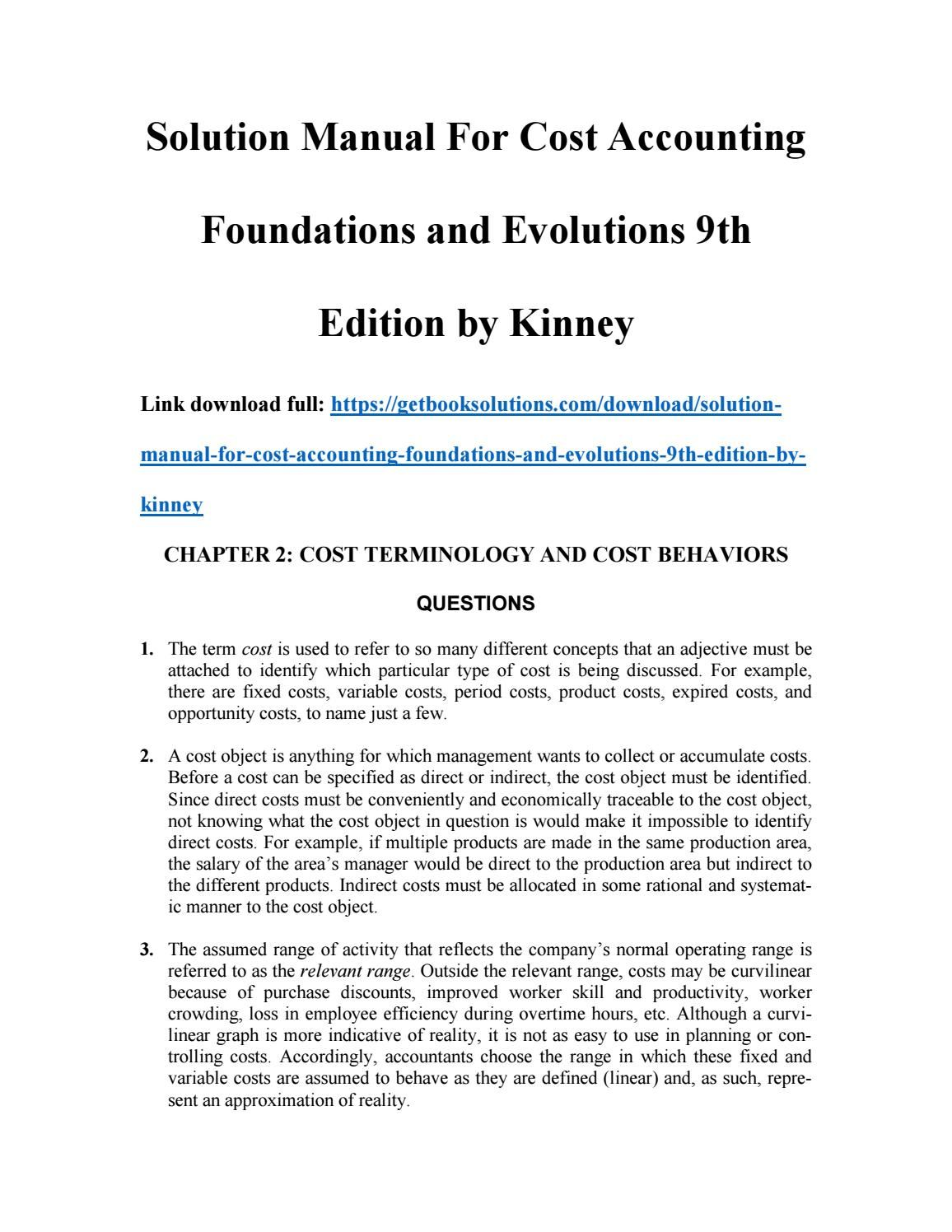 Solution manual for cost account ing foundations and evolutions 9th