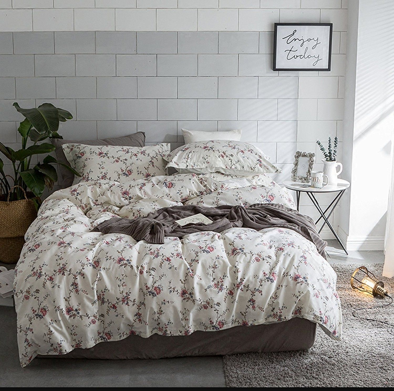 Cottage country style 3 piece duvet cover set multicolored roses peonies bouquet 100percent cotton shabby chic