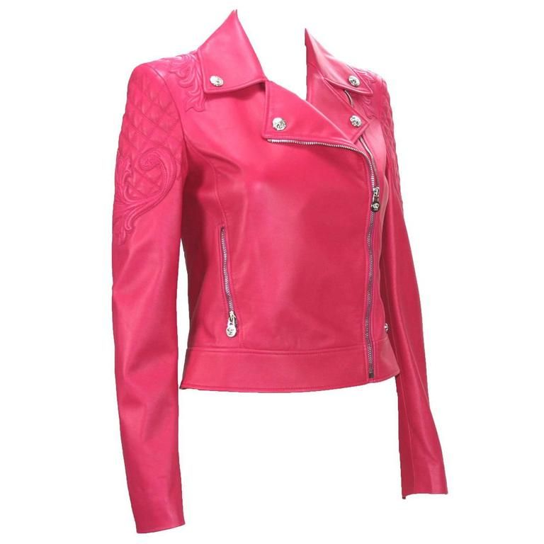New $6,495 Versace Hot Pink Quilted Leather Medusa Moto