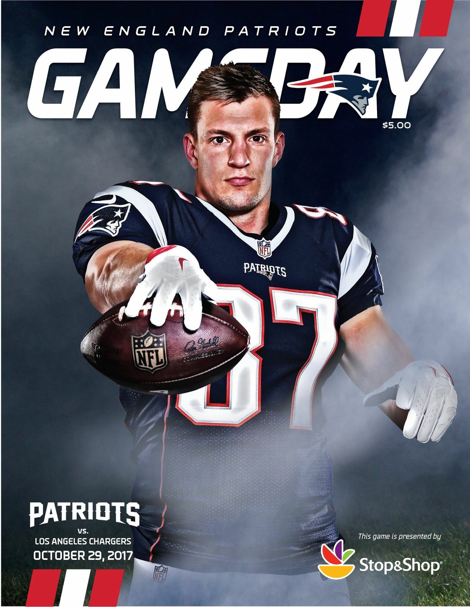 Gameday Program Cover Gronk Week8 Lavsne Letsgo New England Patriots New England Patriots Merchandise New England Patroits